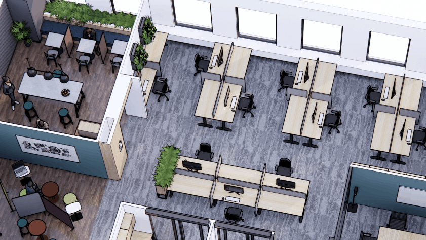 Quick Guide for a Covid-Safe Office Layout, Axo View | Contour Interiors